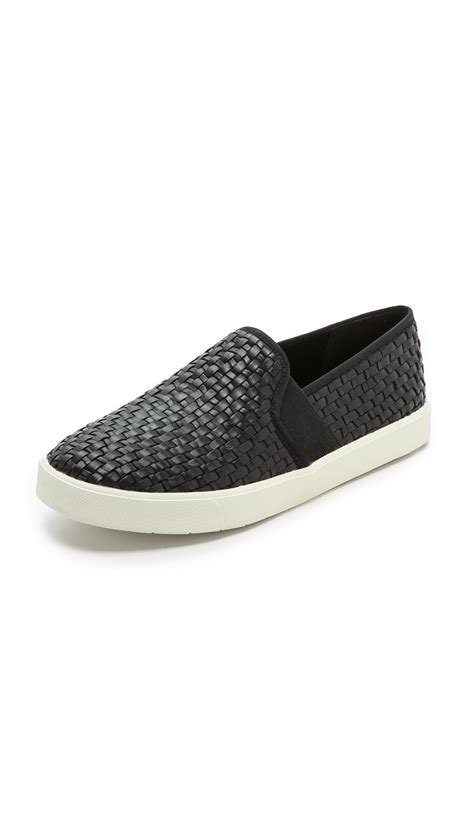 slip on sneakers lyst vince slip on sneakers in black