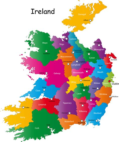 printable map ireland counties towns counties of ireland map