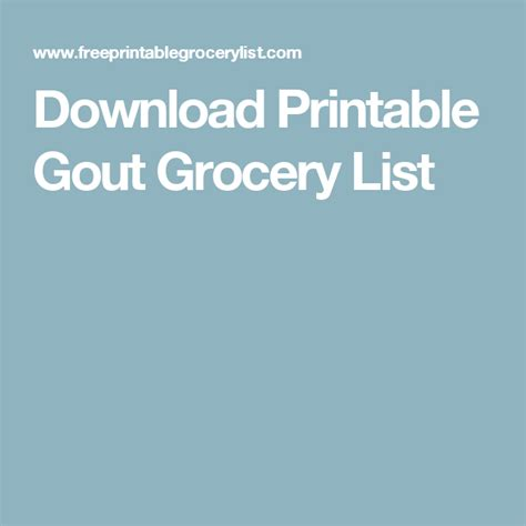 Printable Gout Grocery List