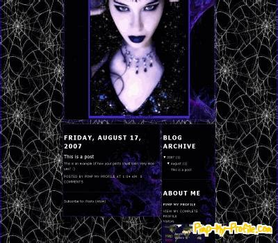 blogger themes gothic spiderwebs goth girl blogger templates pimp my profile com