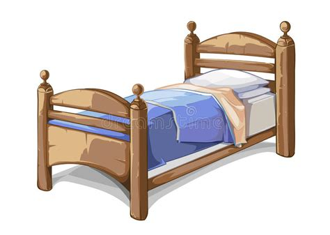 clip on bed l wood bed in style vector illustration stock