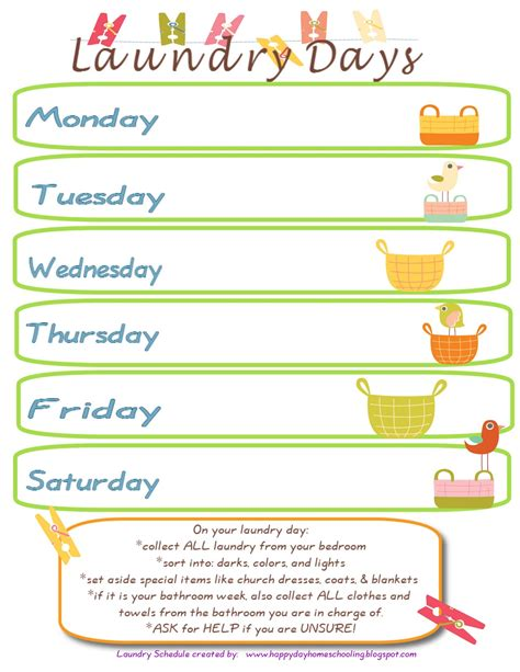Happy Day Homeschooling One Word Laundry Laundry Schedule Template