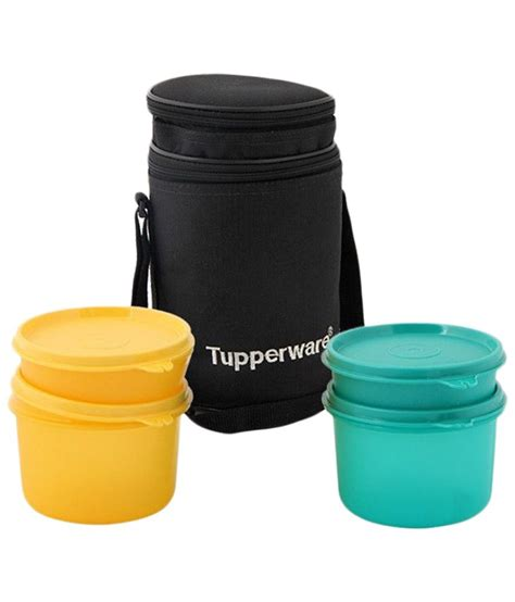 Tupperware Lunch Box tupperware yellow green 4 container lunch box with carry