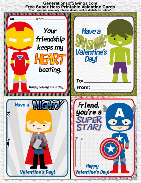 superheroes valentines day free printable s day cards