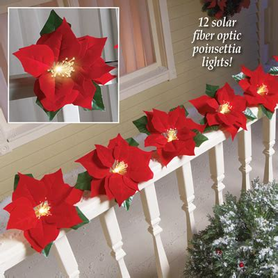 fiber optic poinsettia solar light string from collections