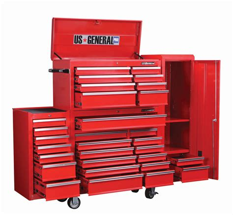 26 in 16 drawer glossy red roller cabinet combo 44 in 13 drawer glossy red industrial roller cabinet 2