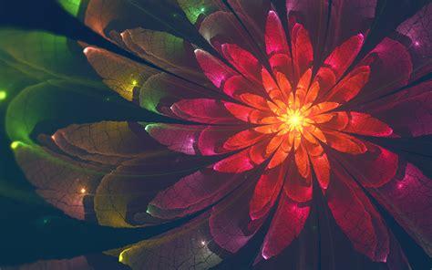 wallpaper fractal flower colorful neon hd