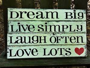 Handmade Wooden Sign - big live simply laugh often lots handmade