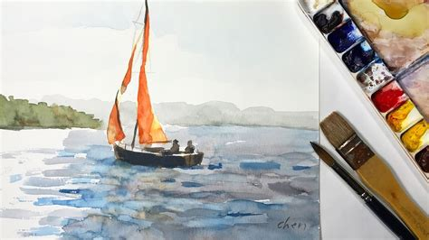 sailing boat watercolour how to watercolor painting a sailboat without pencil