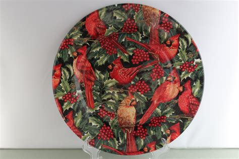 decorative cardinal christmas plate