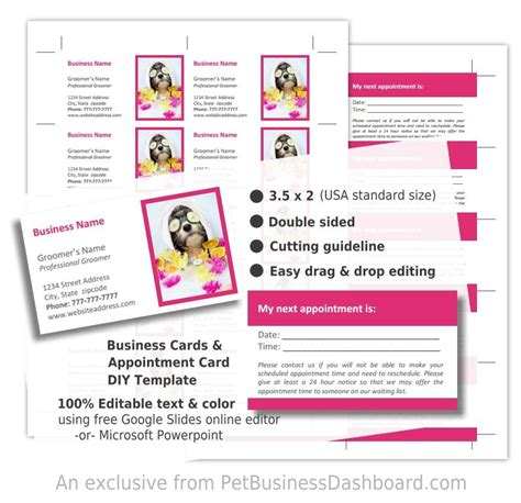 free grooming business card templates diy grooming business cards template pet business