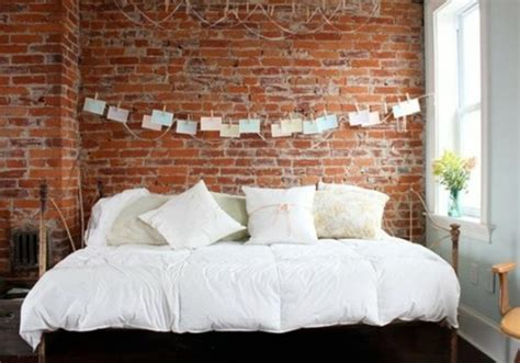 decorate  brick wall   bed