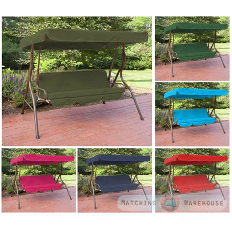 swing bench canopy replacement replacement 3 seater swing seat canopy cover and cushions set garden hammock ebay