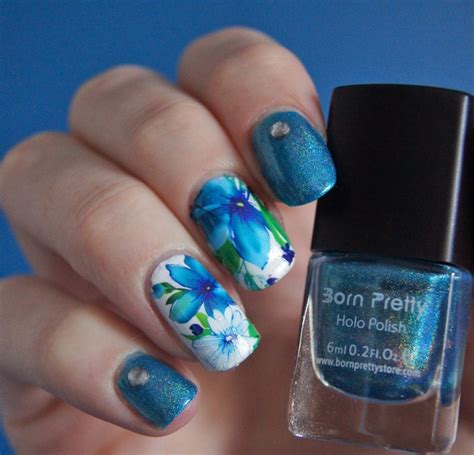 lotus nails awesome shimmer blue lotus nails nail by born pretty