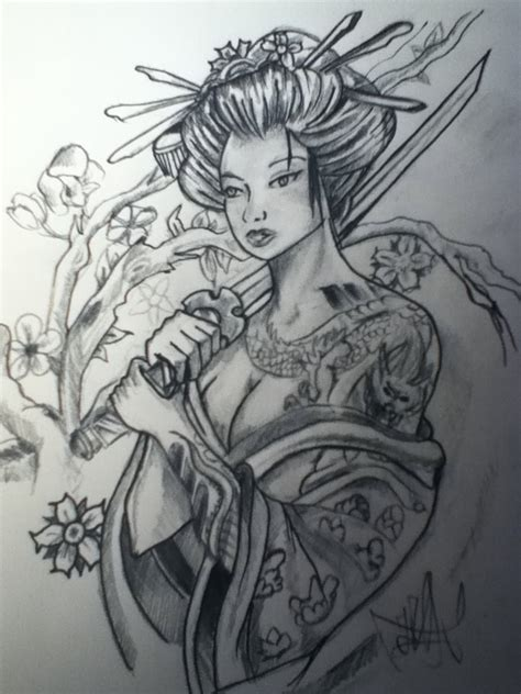 samurai tattoo with geisha samurai geisha tattoo drawing jpg 1200 215 1600 martial