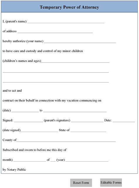 temporary power of attorney template temporary power of attorney form editable forms