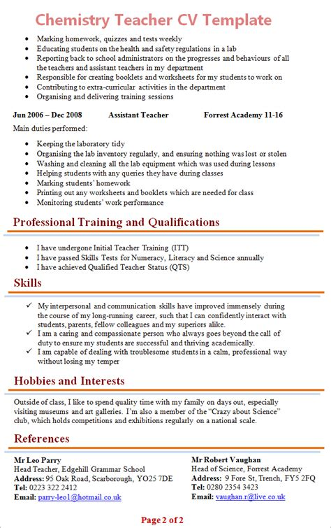 Resume Sles For Chemistry Teachers Chemistry Cv Template 2