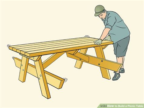 build  picnic table  pictures wikihow