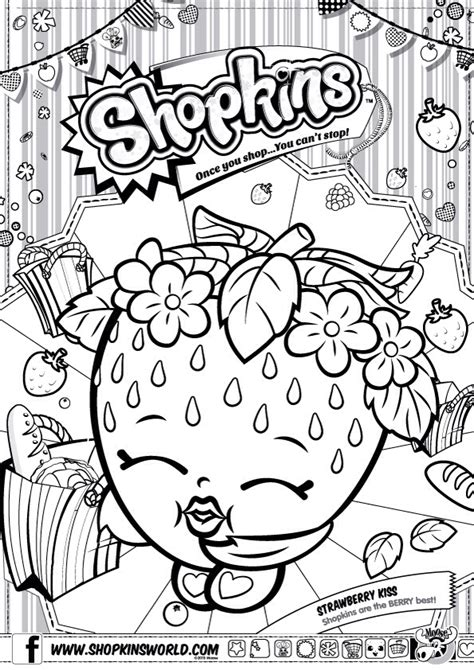 shopkins coloring pages birthday shopkins colour color page strawberry kiss shopkinsworld