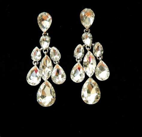 Teardrop Chandelier Bridal Earrings Teardrop Wedding Earrings Bridal Earrings Deco Silver Plated Rhinestone Chandelier