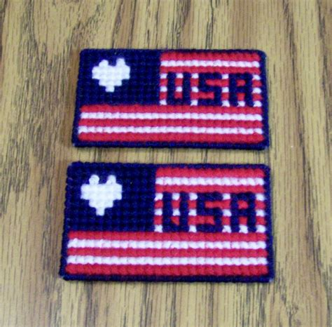 Handmade Flags - patriotic plastic canvas magnet fridge magnet