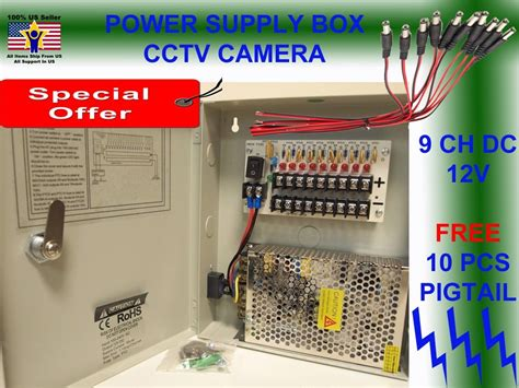 Power Supply Cctv 4 Channel Sentral Box 8 ch channel power supply box cctv 9 port 12v free 10 pigtail dc ebay