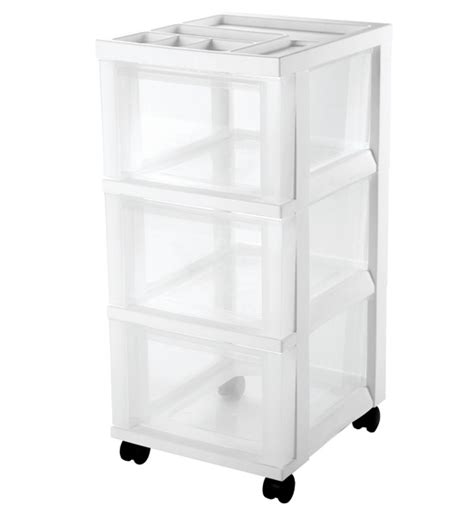White Rolling Cart With Drawers Rolling Three Drawer Cart White