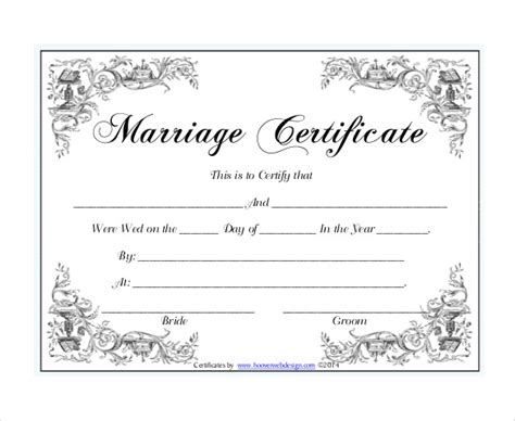 wedding certificate templates  sample