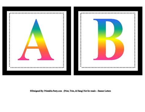 printable alphabet rainbow small square printable alphabet letters printable banner