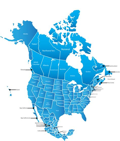 map  north america maps   usa canada  mexico