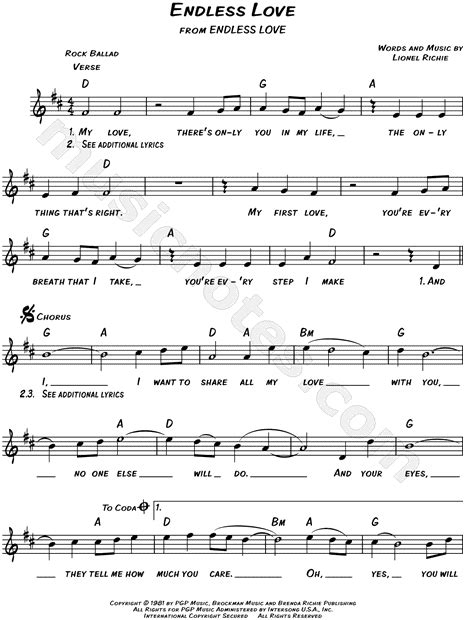 endless love by l richie sheet music on musicaneo lionel richie quot endless love quot sheet music leadsheet in d
