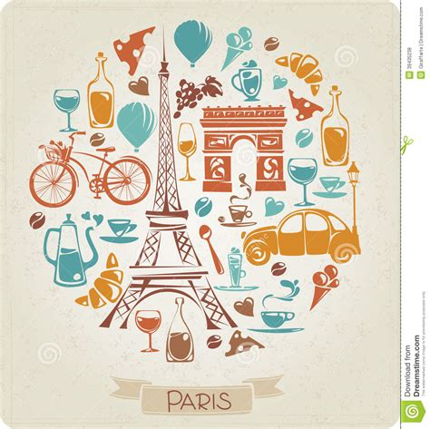 travel pattern in french round pattern in paris or french theme stock vector