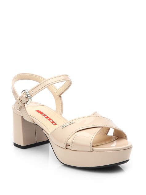 prada platform sandals prada patent leather crisscross platform sandals in beige