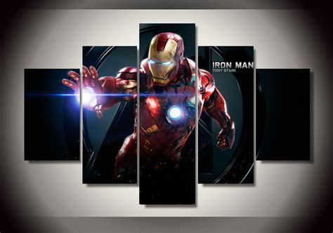 iron man home decor framed printed cartoon movie iron man 5 piece picture