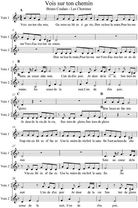 vois sur ton chemin les choristes partition voix complete