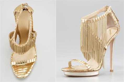 Designer Gold Wedding Shoes by Gold Fringe Strappy Wedding Shoes Onewed