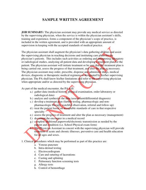 written agreement template sle written agreement for the state board of medicine