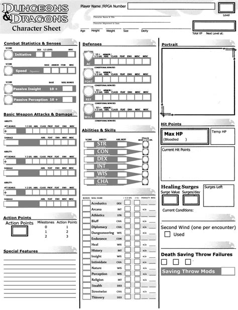 dnd printable character sheets