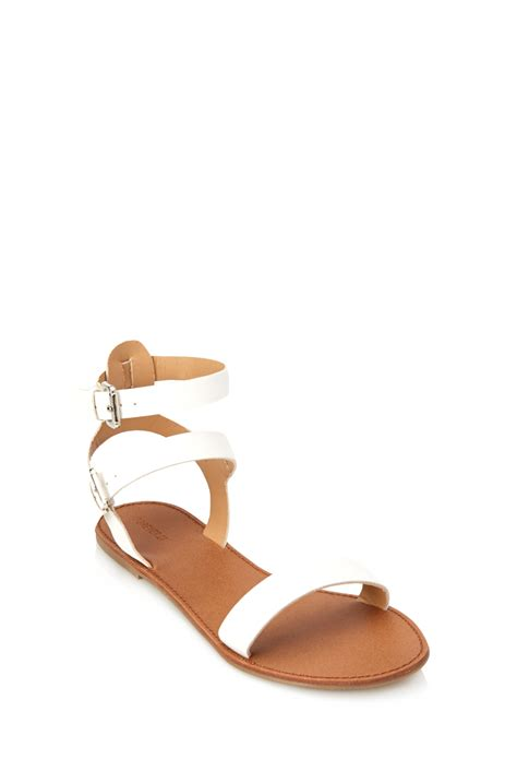 forever 21 sandals forever 21 classic ankle sandals in white lyst