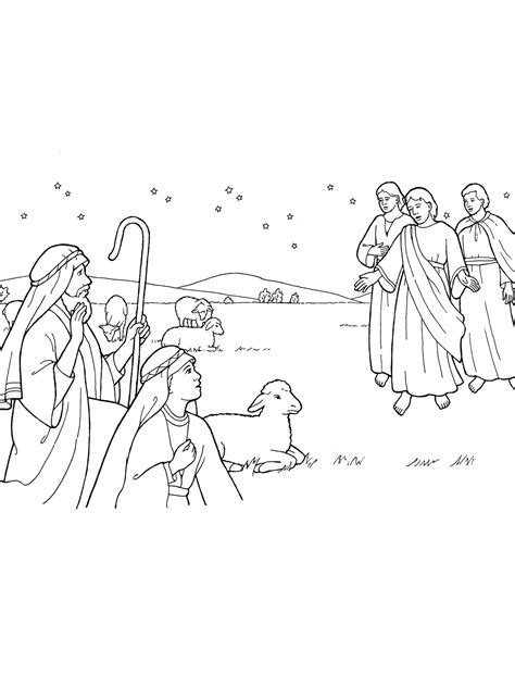 nativity angel coloring page nativity angels appear to shepherds