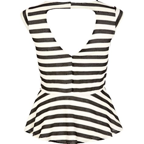 Witchery Twisted Sleeve Stripe Blouse White Stripe river island black and white stripe cap sleeve peplum top