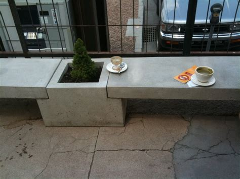 concrete bench planter combo outdoor architecture