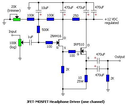 high voltage jfet transistor a jfet mosfet headphone driver circuit diagram world