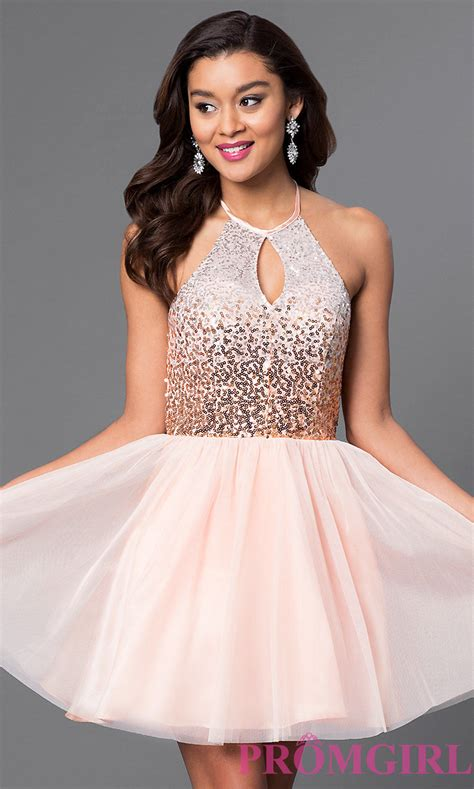 Homecoming Dresses by Sequin Bodice Halter Homecoming Dress Promgirl