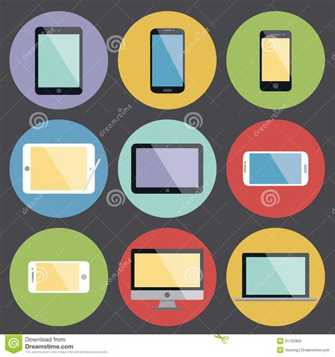flat design icon vector flat design device icons stock vector image of icons