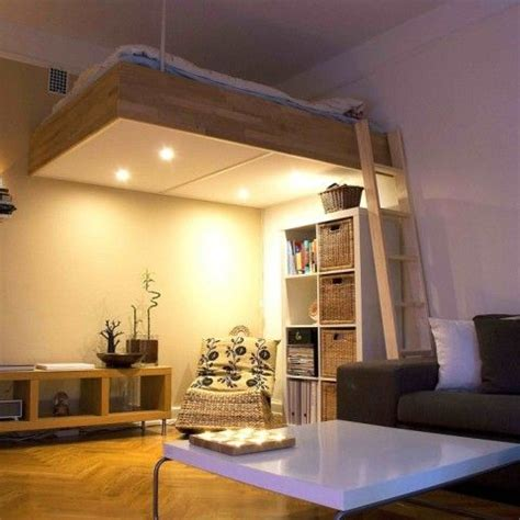 adult loft bed bespoke wood lights  design