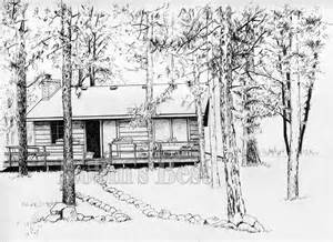 Cabin Drawings by Quot Colored Pen And Ink Drawing Painting Of A Cabin In The
