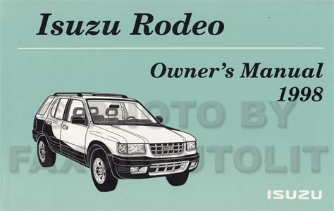 free car manuals to download 1998 isuzu rodeo user handbook service manual download free 1998 isuzu rodeo repair manual free service manual download