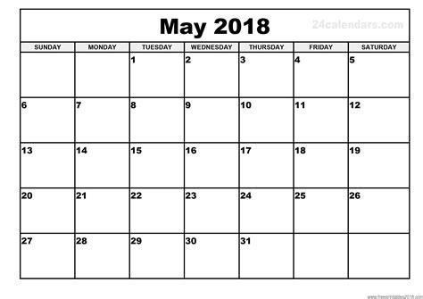 Free Printable Calendar May 2018 Free Printables 2018 Free Calendar Template 2018
