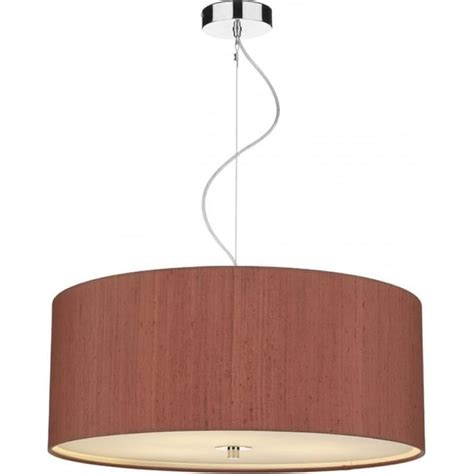 classic drum shade ceiling pendant light with dusky pink shade